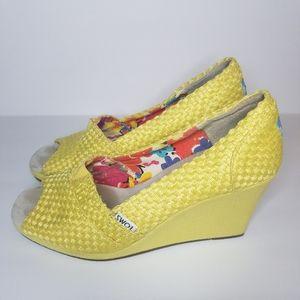 TOMS Yellow Peeptoe Wedge Heel 7.5
